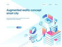 Zwiększający rzeczywistości pojęcie Mądrze miasto technologia Desantowy strona szablon 3d wektorowa isometric ilustracja