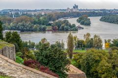 Związek Danube rzeka z Rzecznym Sava Belgrade, Se Fotografia Stock