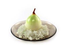 Zwiebel auf einer Platte Stockbild