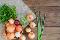 Zwiebel in der Schüssel auf dem Rausschmiß und hölzernem Hintergrund stockfoto