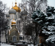 Zwiebel-Hauben an Novodevichy-Kloster in Moskau, Russland Stockfotos