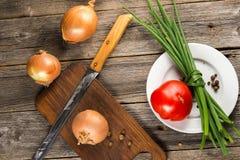 Zwiebel, Schnittlauch und Tomate Lizenzfreie Stockfotografie