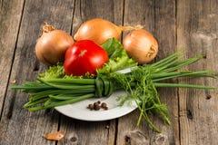 Zwiebel, Schnittlauch und Tomate Lizenzfreie Stockfotos