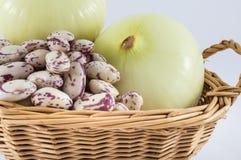 Zwiebel und Bohnen Stockfoto
