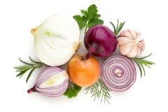Zwiebel und Gewürze lokalisiert auf weißem Hintergrund, Draufsicht lizenzfreies stockfoto