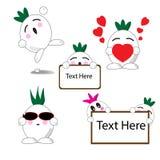 Zwiebelkarikatur mit fünf Ausdrücken Lizenzfreie Stockbilder