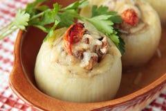 Zwiebeln angefüllt mit Pilzen, Tomaten und gehacktem Fleisch Stockbild