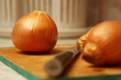 Zwiebeln auf dem Küchentisch lizenzfreies stockfoto