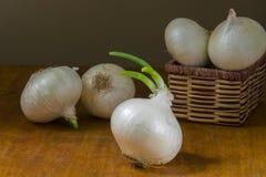 Zwiebeln in einem Korb Lizenzfreies Stockfoto