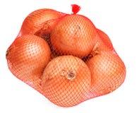 Zwiebeln im Netz Stockbilder