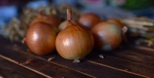 Zwiebeln schließen oben auf dem Tisch lizenzfreie stockbilder