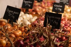 Zwiebeln von verschiedenen Farben in einem Marktstall mit Preisen lizenzfreies stockfoto