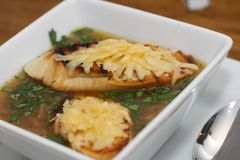 Zwiebelsuppe mit gegrillten Scheiben brot Lizenzfreie Stockfotografie