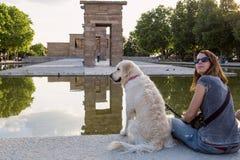 Zwiedzać Hiszpania Architektura Madryt Antyczna budowa w Madryt przeniesieniu od Egipt zdjęcia stock