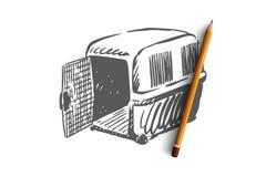 Zwierzę domowe, zwierzę, przewoźnik, klatka, transportu pojęcie Ręka rysujący odosobniony wektor ilustracji