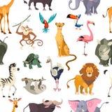 zwierzęta deseniują bezszwowy dzikiego Afrykańskich safari druku dżungli zoo tropikalnych liści dzieciaka zwierzęcia tapetowy tek ilustracji