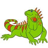 zwierząt kreskówka rysujący ręka odizolowywający wektorowy biel Śliczni zieleni iguana uśmiechy Zdjęcie Royalty Free