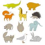 zwierząt kreskówka rysujący ręka odizolowywający wektorowy biel Zdjęcie Royalty Free