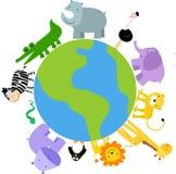 zwierząt kreskówki świat ilustracja wektor