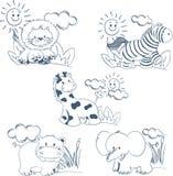 zwierząt kreskówki dżungli konturu set Obrazy Royalty Free