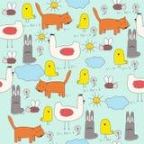 zwierząt kreskówki dzieci rysunki s bezszwowi Fotografia Stock