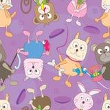 zwierząt kreskówki eps deseniowy bezszwowy Zdjęcie Stock