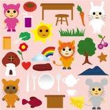 zwierząt kreskówki ikon partyjna herbata Fotografia Royalty Free