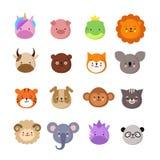 Zwierzę śliczne twarze Pies i kot, krowa, lis, jednorożec i panda, Zwierzęcy dzieciaka emoji Kawaii zoo wektoru kolekcja ilustracji