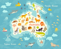 Zwierzę światowa mapa, Australia Obrazy Royalty Free