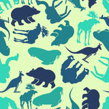 Zwierzę bezszwowy wzór Zoo tło Dzikie zwierzę tekstura royalty ilustracja