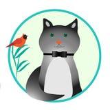 Zwierzę domowe jest szarym kotem na zielonym tle ilustracji
