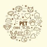 Zwierzę domowe minimalny cienieje kreskowe ikony ustawiać ilustracja wektor