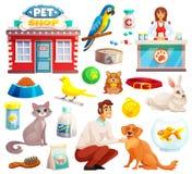 Zwierzę domowe sklepu Dekoracyjne ikony Ustawiać Obrazy Royalty Free