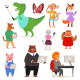 Zwierzę gadżetu wektorowego animalistycznego postać z kreskówki niedźwiadkowy kot, psa mienia kamera dla selfie fotografii lub te ilustracji
