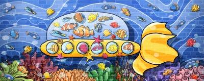 Zwierzę podwodna podróż łodzi podwodnej ściany farbą royalty ilustracja