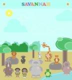Zwierzę sawanna Różnorodność pluszowi zwierzęta w sawannie ilustracji