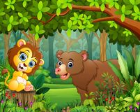 Zwierzęca kreskówka w pięknym zielonym lasu krajobrazie ilustracja wektor