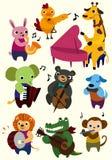 zwierzęca kreskówki ikony muzyka ilustracja wektor