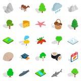 Zwierzęce planet ikony ustawiać, isometric styl royalty ilustracja
