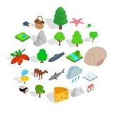 Zwierzęce planet ikony ustawiać, isometric styl ilustracja wektor