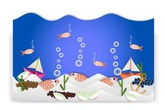 Zwierzęcego obrazka podwodny świat - wektorowa ilustracja, papierowa sztuka Obrazy Stock