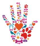 zwierzęcego ręki ikony zwierzęcia domowego ochronny set Obrazy Royalty Free