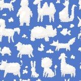 Zwierzęcej chmury białej sylwetki słodcy sen żartują wyobraźni wektorowego ilustracyjnego ślicznego gospodarstwo rolne i dzikich  ilustracja wektor