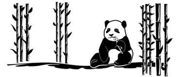Zwierzęcia decal pandy bambusa tatuażu ściennego niedźwiedzia Japan porcelanowy azjata ilustracji