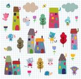 Zwierzęcia domowego miasteczka wzór Fotografia Stock