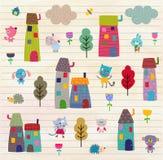 Zwierzęcia domowego miasteczka wzór Obraz Stock