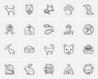 Zwierzęcia domowego nakreślenia ikony set Obraz Stock