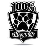 100% zwierzęcia domowego odznaki ikony adoptable osłona Ilustracja Wektor