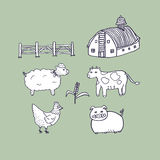 Zwierzęcia gospodarstwa rolnego Doodle Ilustracyjnego wektoru Odosobniony tło Zdjęcia Royalty Free