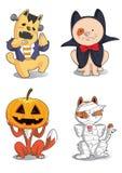 Zwierzęcia Halloween śliczni charaktery Obraz Royalty Free
